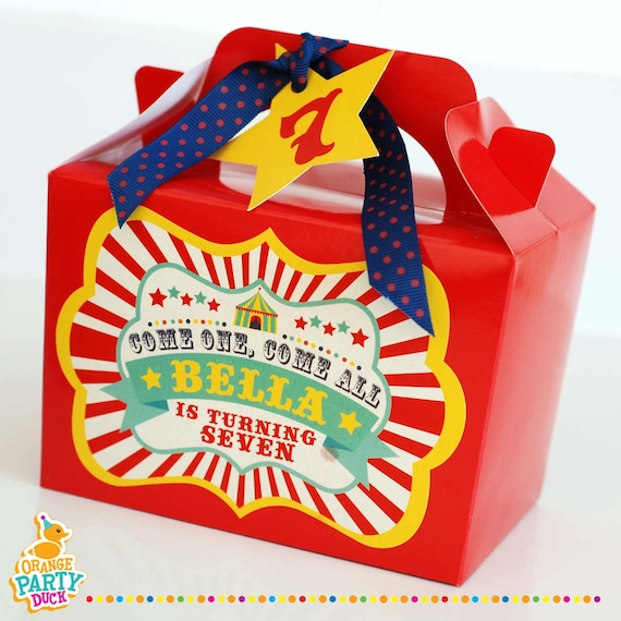 Personalised Mini Favor Box Circus Showtime Showman Carnival Birthday Party Bag