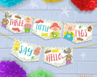 Personalised Childrens 3 LITTLE PIGS Wolf Pig Brick House Birthday Party Banner Bunting Stationary
