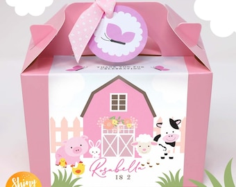 Personalised Children's Tractor Farm Barnyard Baby Animals Birthday Party Bag Box Lunch Box Activity Pink Red Pig Cow Sheep Chicken