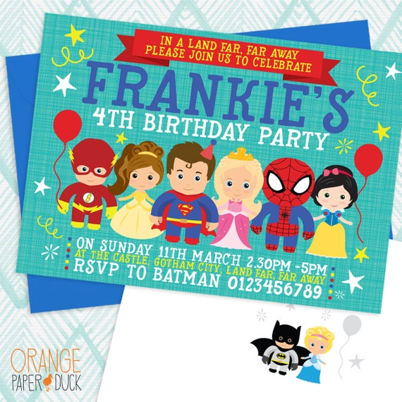 Personalised Birthday Invitations Superhero and Princess x 5