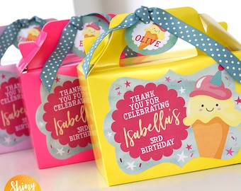 ICE CREAM Sweet Cone Treat Personalised Party Yellow Pink Lilac Favor Party Gift Box Bag Lunch Birthday Wedding Pink