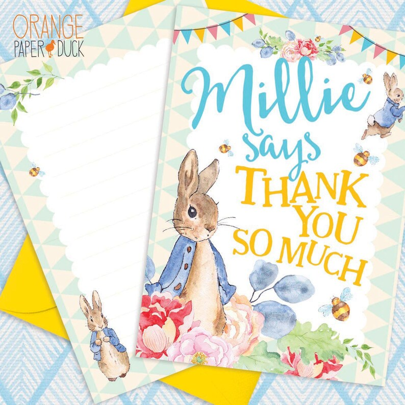 Personalised PETER RABBIT Thank You Cards Birthday Gift A6 Or