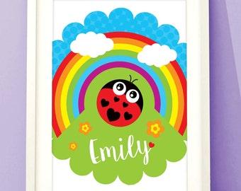 RAINBOW LADYBIRD PRINTABLE Digital Personalised Nursery Art Baby Children's Room Decor Print