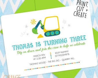 5 X Personalised DIGGER Birthday Party Printable Digital Invitation Stationary