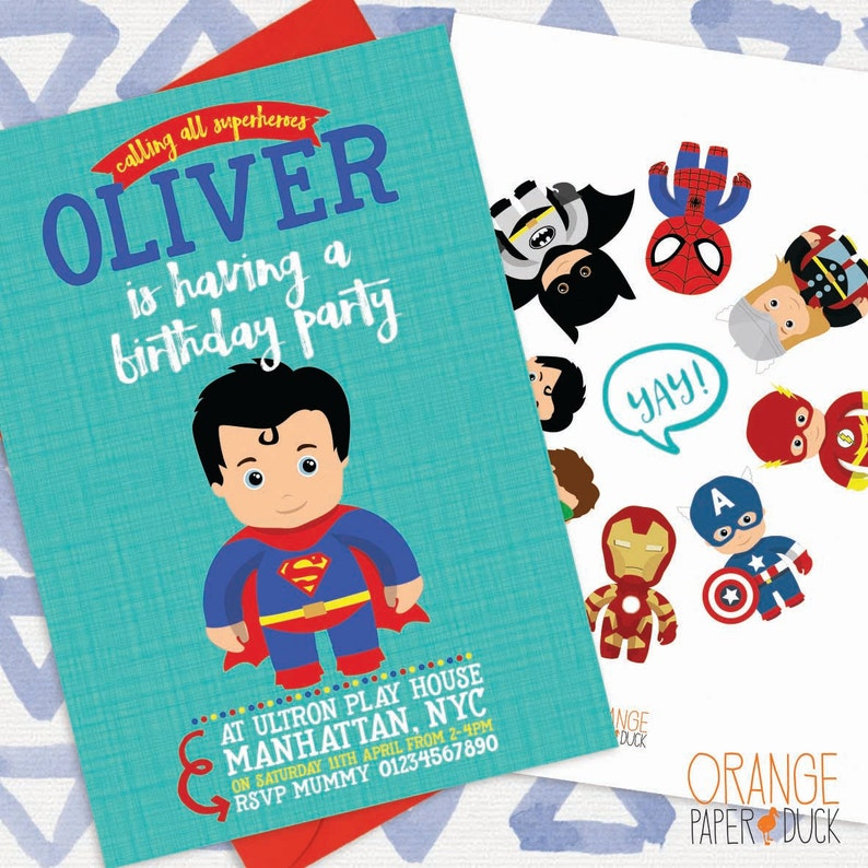 Personalised Birthday Invitations Superhero x 5