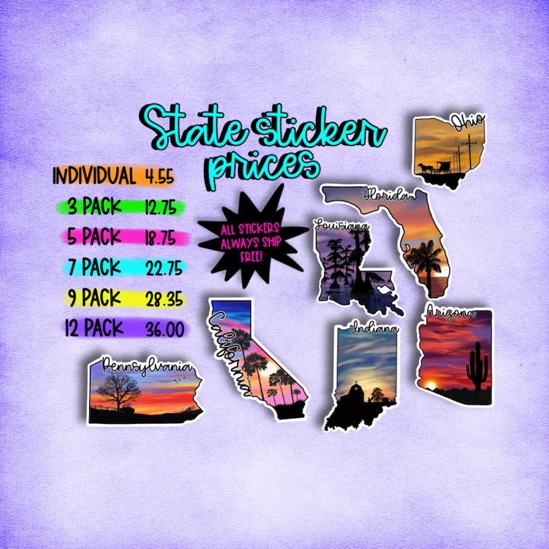 State sticker pack sticker pack state stickers stickers for laptop state stickers pack sticker bundle water bottle sticker