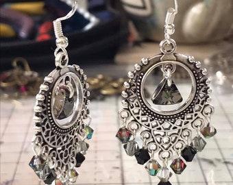 Long Silver Teardrop Filigree Drop Earrings Lagenlook Festival Boho Fashion