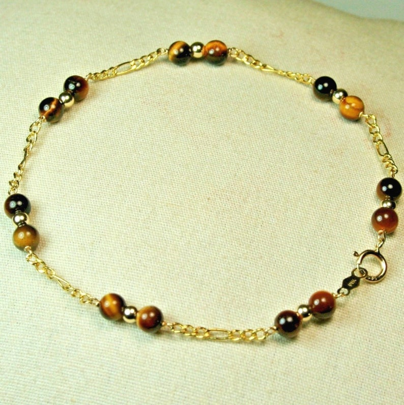 6 inches long Gorgeous 14k solid yellow gold lightweght natural Tiger/'s Eye bracelet 8-7