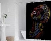 "Joyous African Woman Art Bath Shower Curtain 71"" x 69"""
