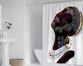"Joyous African Woman Art (White version) Bath Shower Curtain 71"" x 69"""