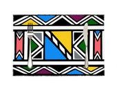 """Ndebele Print 4 Pieces Heat-resistant Placemats Set 11.8"""" x 17.7"""""""