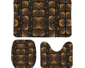 "Mud Cloth African Print 3 Pieces Coral Velvet Floor Mat Set 15.7"" x 23.6"" x 0.3""/17.7"" x 13.8"" x 0.3""/15.7"" x 13.8"" x 0.3"""