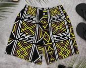 Mud Cloth African Print Men's Athletic Swim Shorts