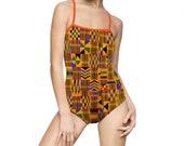 Kente Thin Straps Women's One-piece Swimsuit