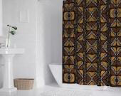 "Afro Mud Cloth African print shower curtain Bath Shower Curtain 71"" x 69"""