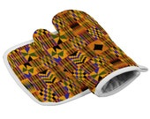Kente African Print Anti Scald Insulated Gloves and Mat Set