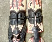Authentic Male and Female African mask sculpture for wall | African wall art | Wall Decor | Wooden African Art Scupture