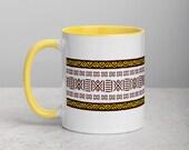 Bogolan mug | afrocentric mug with Color Inside | Mud Cloth Mug | african print mug