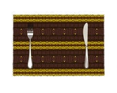 """African tableware 4 Pieces Heat-resistant Placemats Set 11.8"""" x 17.7"""""""
