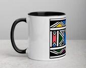 African mug | Ndebele Mug | Afrocentric mug with Color Inside