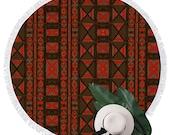 "Mud Cloth African Print Round Fringed Lounge Mat 59"" x 59"""