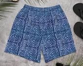 Batik Indigio Mud cloth Adire Men's Athletic Swim Shorts