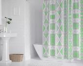 "Boho Curtain, African Mud cloth print (Grey version) Bath Shower Curtain 71"" x 69"""