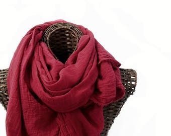 Hand Dyed Nomad Scarf, Extra Large, Dark Red Scarf, Lightweight Cotton Scarf, Cotton Gauze, Small Batch, Womens Mens Scarf, Gift, Sarong