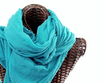 Hand Dyed Small Batch, Nomad Scarf, Extra Large Turquoise Scarf, Lightweight Cotton Scarf, Blue Cotton Gauze, Womens Mens Scarf, Travel Wrap