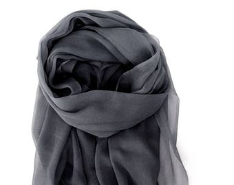 Charcoal Gray Scarf, Sheer Lightweight Gray Silk Scarf, Gray Scarf, Wedding Shawl, Gray Silk Scarf, Silk Gauze Scarf, Small Batch Hand Dyed