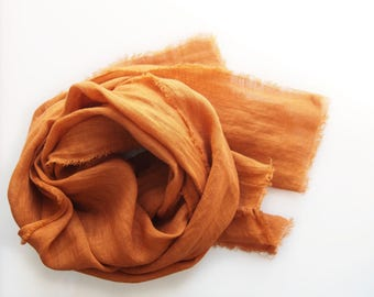 Dusty Orange Linen Scarf, Hand Dyed Orange Scarf, Lightweight European Linen, Pumpkin, Men Women, Minimalist, Rustic, Fall, Spring Summer