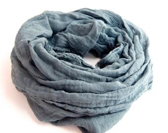 Steel Blue Gray Scarf, Dark Gray Cotton Gauze Scarf, Womens & Mens Gray Scarf, Lightweight Blue Scarf, Minimalist, Nomad Scarf, Gift