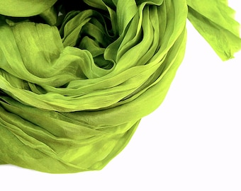 Moss Green Silk Scarf, Hand Dyed Silk Wrap, Silk Shawl 2 sizes, Travel Scarf, Spring Summer Fall, Holiday, Spa Vacation, Mens Womens Scarf