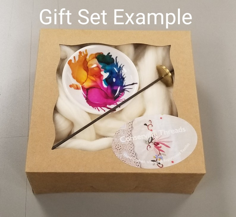 1 oz Natural Acala Cotton Sliver Hand-Painted Porcelain Support Bowl and Brass Thakli Spindle Cotton Spinning Gift Set