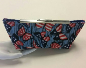 July 4th Butterfly Clutch. Red, White and Blue Fabric Bag. Silver Metal Purse Clasp. From Conserving Threads.