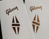 Two Guitar Headstock Waterslide Decals Gibson Diamond Gold