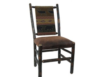 Stained Rustic Hickory Dining Chairs With Upholstered Seat And Back