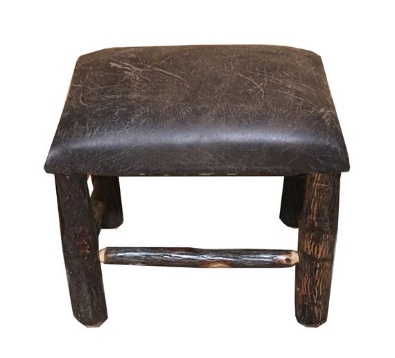 Fine Rustic Hickory Ottoman With Distressed Faux Leather Fabric Machost Co Dining Chair Design Ideas Machostcouk