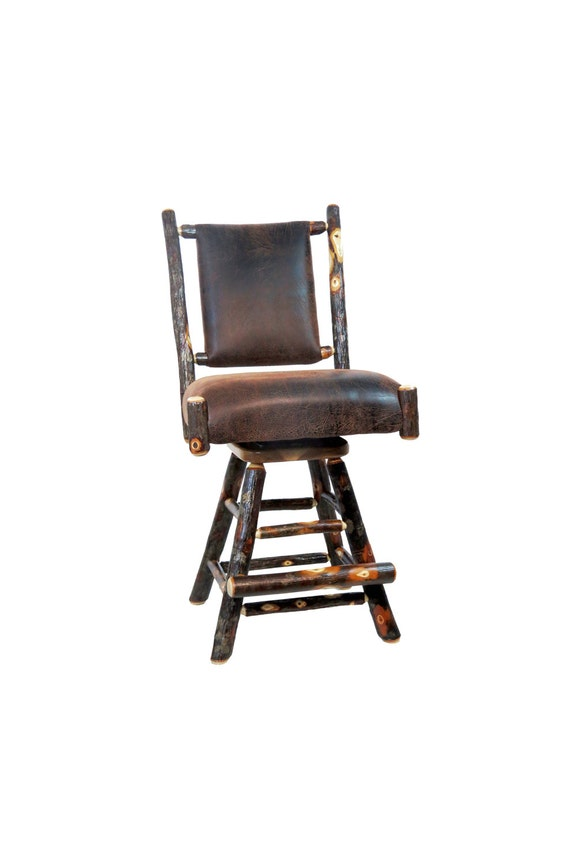 Cool 24 Or 30 Rustic Hickory Swivel Upholstered Bar Stool With Faux Leather Back Onthecornerstone Fun Painted Chair Ideas Images Onthecornerstoneorg