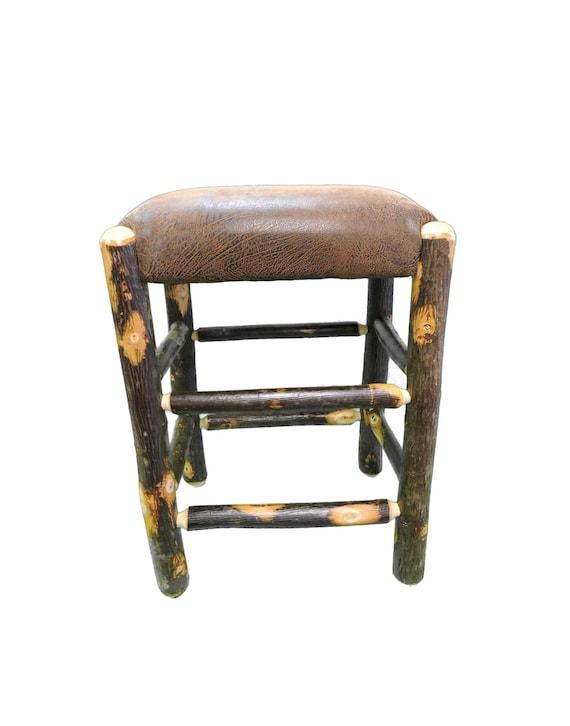 Terrific 24 Inch Rustic Hickory Upholstered Bar Stool No Back Evergreenethics Interior Chair Design Evergreenethicsorg