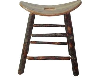 Rustic Hickory Saddle Seat Bar Stool - 24 inch