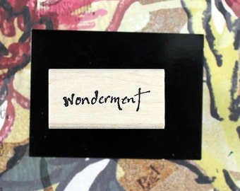 Nancy Curry Art  hand-lettered wonderment rubber stamp