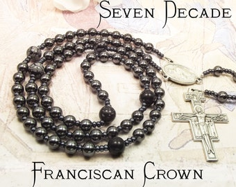 Franciscan Crown Rosary Seven Decades - 7 decades, San Damiano Crucifix or St Francis Crucifix ideal confirmation gift or godfather gift