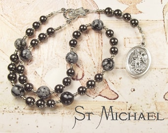St MICHAEL CHAPLET with Haematite and Snowflake Obsidian beads and St Michael Medal with prayer card