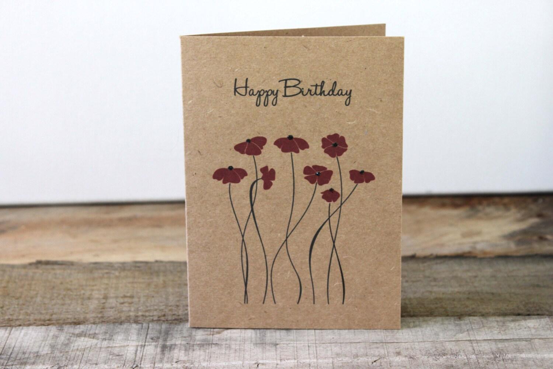 Happy Birthday Card Flowers Glitter Kraft Birthday Card Etsy