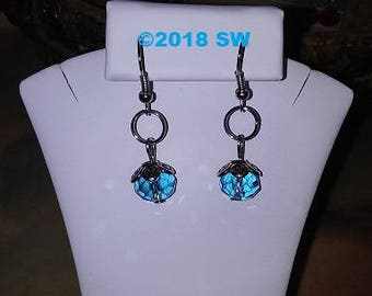 Beautiful Dangling Earrings,Dangle Earrings,Silver Tone,Blue Glass Bead Dangling Earrings,Red,Green Dangling,Simple Dangling Earring,Simply