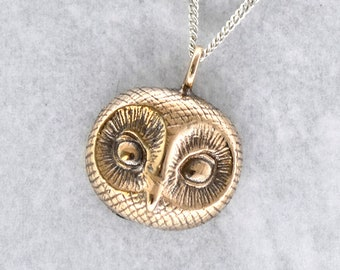 Owl Pendant in Bronze with a sterling silver chain