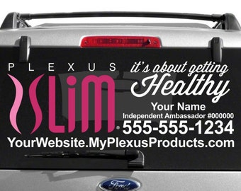 SALE-Plexus Slim Car Decal with Getting Healthy Feature & Custom Text - Full Color - Plexus Compliant!