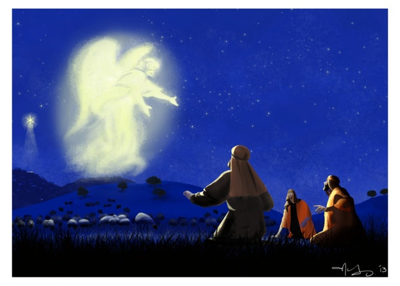 Christmas Shepherds.Christmas Angel Appears To Shepherds Luke 2 Digital Art Print At Home
