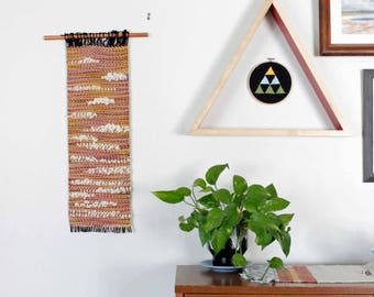 Weaving, Woven Wall Hanging, Long Wall Weaving, Pink Yellow Weaving, Large Wall Hanging, Tapestry, Textured Woven Art, Wall Tapestry